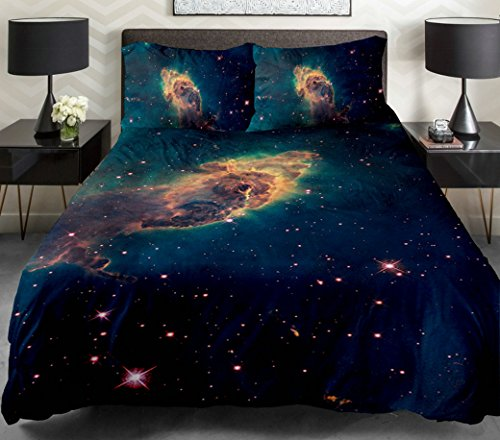 Anlye Galaxy Quilt Cover 3D Printing Galaxy Duvet Cover Galaxy Never Fade Sheets Space Sheets Outer Space Bedding Set With 2 Matching Pillow Covers (King) front-637137