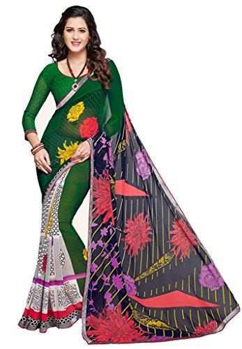 Salwar Studio Green & Navy Blue Dani Georgette Floral