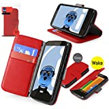 iTALKonline Motorola Moto G 4G (2013) RED Executive Wallet Case Cover Skin Cover with HORIZONTAL VIEWING STAND Holder and Sleep Wake Sensor