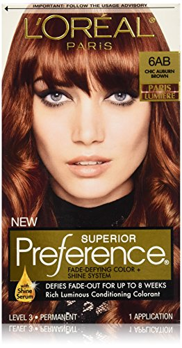 L'Oreal Paris discount duty free L'Oreal Paris Superior Preference Hair Color, 6AB Chic Auburn Brown