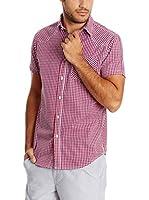 New Caro Camisa Hombre Camisa (Rojo)