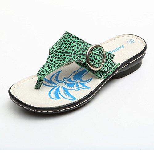 Tongs de mode femme/sandales et pantoufles en cuir d'été/Vêtements femme pantoufles Leopard/Chaussons de plage orteil