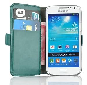 JAMMYLIZARD   Luxuriös Edition   TÜRKIS GRÜN Ledertasche Flip Case Hülle für Samsung Galaxy S4 Mini mit Ständerfunktion, Kreditkartenfächer und Magnetverschluss, inkl. Displayschutzfolie