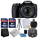 Canon PowerShot SX530 HS 16.0 MP CMOS Digital Camera with 50x Optical Image Stabilized Zoom with 3-Inch LCD HD 1080p Video (Black)+ Extra Battery + 24GB Class 10 Card Complete Deluxe Accessory Bundle And Much More