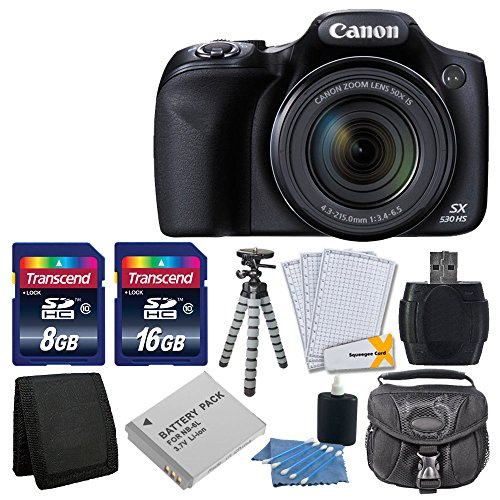 Canon PowerShot SX530 HS 16.0 MP CMOS Digital Camera with 50x Optical Image Stabilized Zoom with 3-Inch LCD HD 1080p Video (Black)+ Extra Battery + 24GB Class 10 Card Complete Deluxe Accessory Bundle And Much More (Canon Sx520 Hs Powershot compare prices)