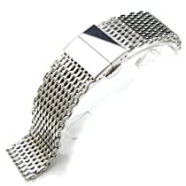 """22mm Polished Ploprof 316 Reform Stainless Steel """"SHARK"""" Mesh Watch Band Deployant Strap (AB)"""