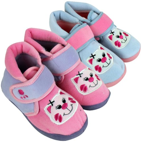 Girls Childrens Toddlers Novelty Ankle Boot Slipper Kids Bootie Velcro Slippers