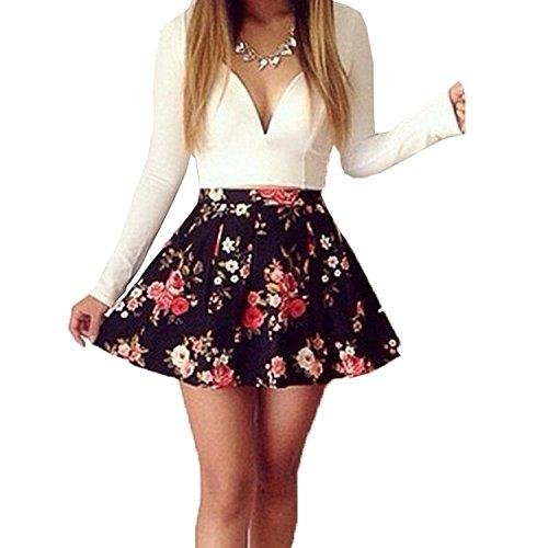 Meily(TM) Womens Long Sleeve V Neck Floral Cocktail Short Slim Dress