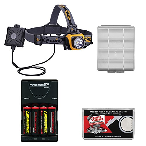 Fenix Hp15 Led Waterproof Headlamp Torch Flashlight (Orange) With 4 Aa Rechargeable Batteries & Charger + Case + Cloth