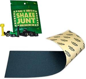 Mob Skateboard Grip Tape Sheet Black 9 With Shake Junt Bag O Bolts Black Green Yellow... by Shake Junt
