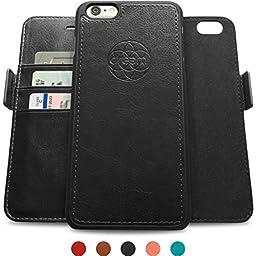Dreem Fibonacci iP6+V4 Wallet Case with Detachable Folio, Premium Vegan Leather, 2 Kickstands, Gift Box, for iPhone 6/6s PLUS - Black