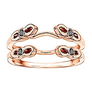 0.24CT Black and White Diamonds Cathedral Infinity Designed Ring Guard set in Rose Gold Plated Sterling Silver (0.24CT TWT Black And G-H I1-I2 Diamonds)