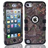 Lantier For iPod Touch 5th Case,Plastic 3 Layer TUFF Hard Cover Camo Triple Hybrid Silicone Quakeproof Drop Resistance Protective Shell Case for iPod Touch 5 5th Generation with Screen Protector and Stylus Pen Brown Branch/Black (Color: Brown Branch/Black)