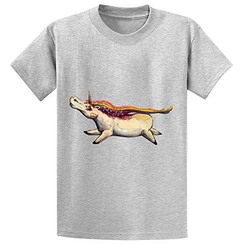 Snowl F Gravitiy Im A Unicorn Boys' Crew Neck Short Sleeve T-shirt Grey