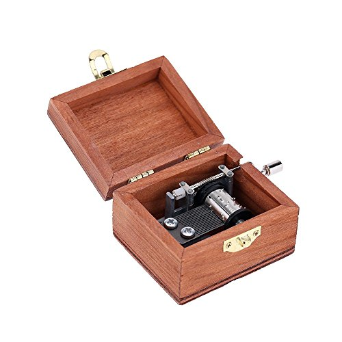 Exquisite Hand Crank Musical Box Retro Vintage Wooden Music Box 4 Different Patterns for Option Beautiful Decorative Patterns 6