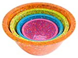 Zak Designs Confetti Mixing Bowls, Assorted Brights Orange, Set of 4