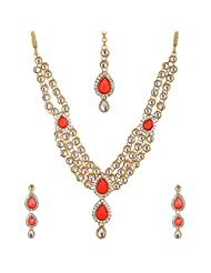 Lucky Jewellery Red Gold Plated Kundan Jewellery Set For Women - B00SINFCDG