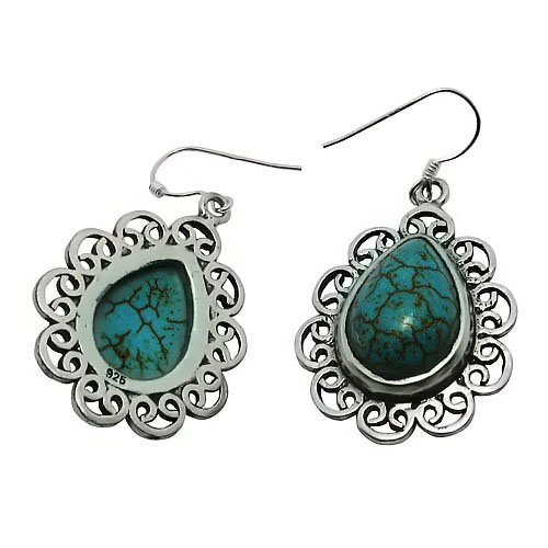 Turquoise Hoop Earrings Platinum Plating- Accent Style