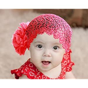 Flower Toddlers Infant Baby Girl Princess HeadbandHair Band Net Headwear accessories Crochet Red Size M