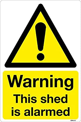 Warning This shed is alarmed sticker vinyl sign decal 100x150mm