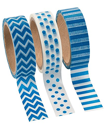 Blue Washi Tape Set - 16 Ft. Of Tape Per Roll (3 Rolls Per Unit) - 1