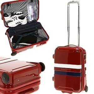 TOMMY HILFIGER Polycarbonat Ultraleicht - Koffer 55 cm Reisekoffer mit TSA Schloß + Zip Beutel + TSA Koffergurt Extra / Boardgepäck / ROT
