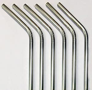 Reusable Straws - Stainless Steel Drinking - Set of 6 + 2 Cleaners - Eco Friendly, SAFE, NON-TOXIC non-plastic