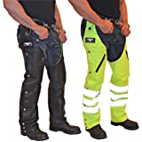 Missing Link Leather/Nylon Reversible Hook Chaps (Black/HiViz Green, Large) by NYC Leather Factory Outlet