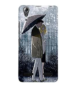 99Sublimation Couple in in Rain 3D Hard Polycarbonate Back Case Cover for Lenovo A6000 Plus