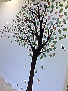 7ft Tree Decal - Wind Blowing 7ft Tree Wall Decal w/ Birds Art Sticker Mural