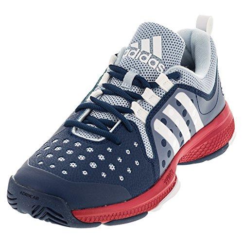 Adidas Performance Women's Barricade Classic Bounce W Tennis Shoe, Tech Steel White/Ray Red Fabric, 9 M US
