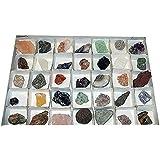 Mineralien Rohsteine Edelsteine Nr. 2152 Sammlung 40 Stück einzeln benannt z.B. Rosenquarz Bergkristall Amethyst Fluorit