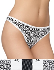 5 Pack Cotton Rich Monochrome Animal Print Thongs