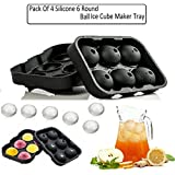 (Pack Of 4) KARP™ Flexible Silicone Spherical 6 Round Ball Ice Cube Tray Maker Mold With Lid Perfect Ice Spheres...
