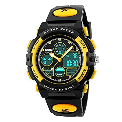 Jelercy Multi Function Digital Watch LED Quartz Water Resistant Electronic Sport Watches for Boys Yellow