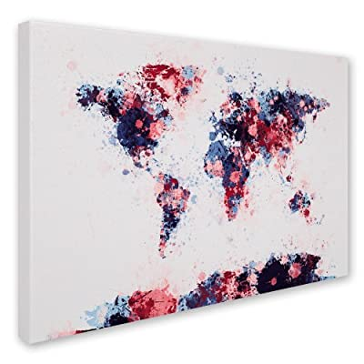 Trademark Fine Art Paint Splashes World Map 3 by Michael Tompsett Canvas Artwork
