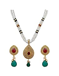 DD Pearls Imperial White Pearls And Red And CZ Pendant Set For Women