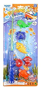 Childrens Kids Toy Fishing Game Set of 4 Fish and Toy Rod Party Game or Gift