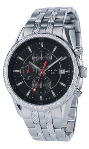 Accurist Men's Quartz Watch with Black Dial Chronograph Display and Silver Stainless Steel Bracelet MB935B