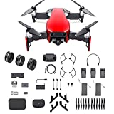 DJI Mavic Air Fly More Combo, Flame Red (2018 Version), 3-Filter Set, Landing Gear and More (Red) (Color: Mavic air red)