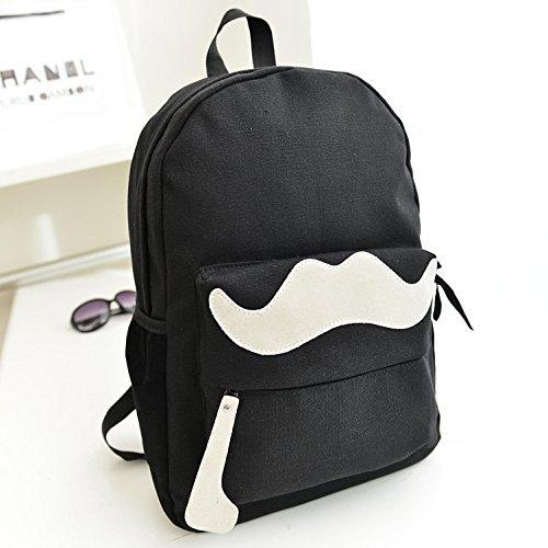 Mytom Neue Unisex Mode Süßigkeit Farbe Beard Canvas Rucksäcke Schule Campus Travel Umhängetasche