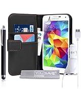 Yousave Accessories Coque Samsung Galaxy S5 Etui PU Cuir Portefeuille Housse Avec Stylet Et Chargeur De Voiture