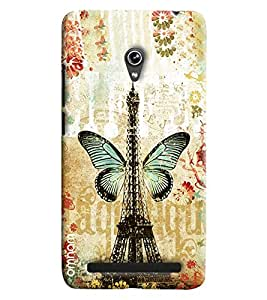 Omnam Eiffil Tower Of Paris With Butterfly Printed Designer Back Cover Case For Asus Zenfone 6 A600CG