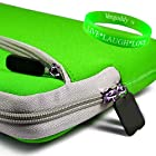 Lime Green Two Pocket Zipper eBook Nook Color Carrying Case Sleeve Cover for Barnes & Noble 7 Nook WIFI + Live * Laugh * Love Vangoddy Wrist Band!!!