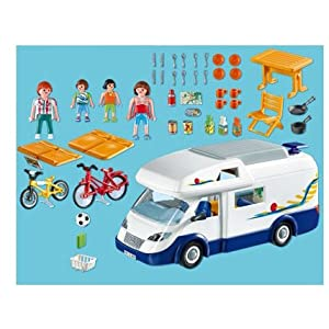 Folding Table With Chairs Stored Inside Playmobil 4859 Family Camper Van Mobile Home RV Motorhome Holiday ...