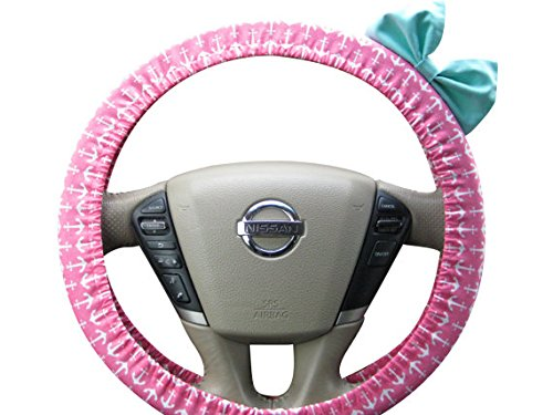 Beau Fleurs BF11029 - Steering Wheel Cover Bow, Pink Anchor Steering Wheel Cover with Seafoam Blue Bow, Nautical wheel cover bow, Navy steering wheel bow (Steering Wheel Cover Pink Bow compare prices)
