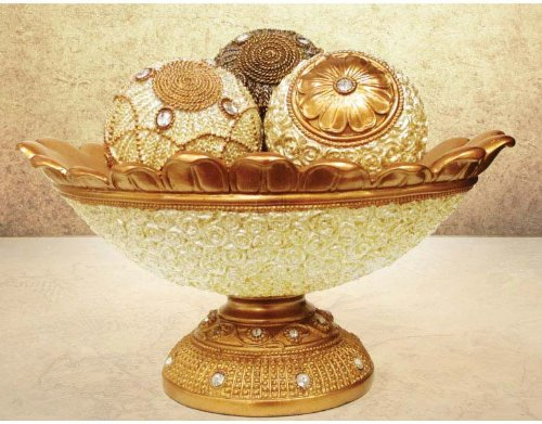The Jay Companies 1521491CB 4 Piece Decorative Orb Set with Bowl