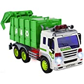 Wol Vol Friction Powered Garbage Truck Toy With Lights And Sounds, Can Open Back