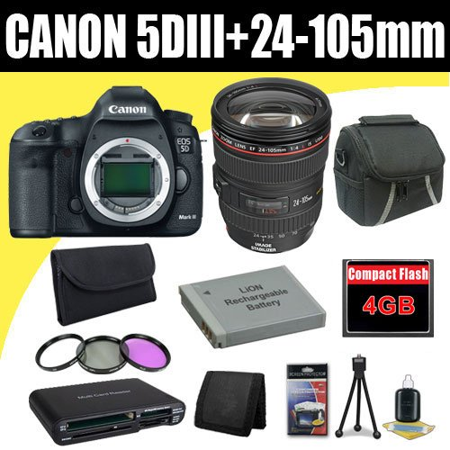 Canon EOS 5D Mark III 22.3 MP Full Frame CMOS with 1080p Full-HD Video Mode Digital SLR Camera w/ EF 24-105mm f/4 L IS USM Lens + LP-E6 Replacement Lithium Ion Battery + 4GB Compact Flash Memory Card + 72mm 3 Piece Filter Kit + Carrying Case + SDHC Card USB Reader + Memory Card Wallet + Deluxe Starter Kit Deluxe Accessory Kit