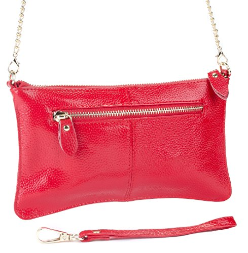 Women's Fashion Leather Wristlet, Crossbody Clutch Purse (Wild Cherry) Wristlet Cherry
